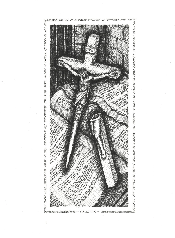 Crucifix , 2018. Ink on paper.
