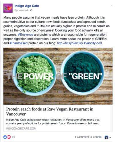 Indigo Age Cafe Vancouver Facebook Ads