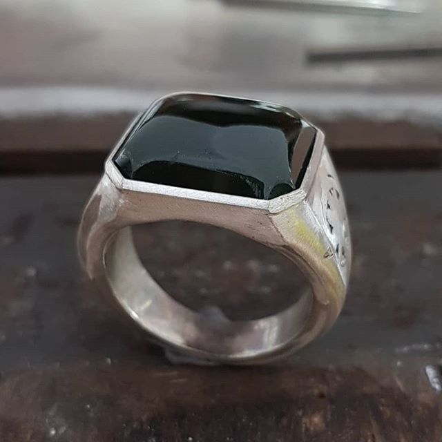 We had the pleasure of cutting this New Zealand green stone recently to fit an existing silver ring. We made a new frame for the stone and soldered in place for a happy customer! thanks for the interesting job @thesaltygnome  price of cutting at repair $340