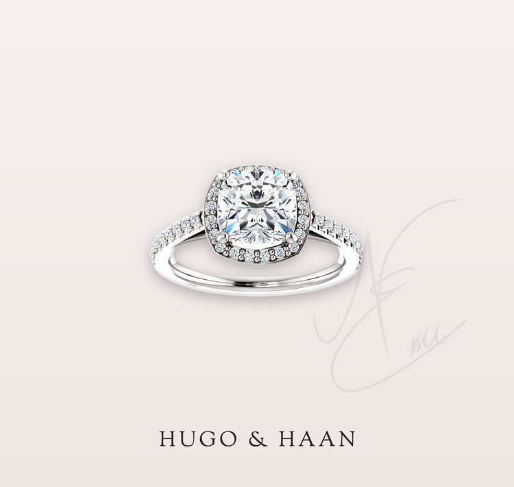 THE CUSHION CUT HALO - No classic list would be complete without the cushion cut surrounded by lots of sparkling diamonds.