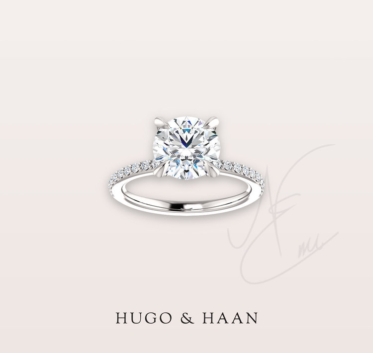 THE DIAMOND SET SHANK - This setting type can hold any type of diamond centre stone with the added sparkle from the diamonds on the ring