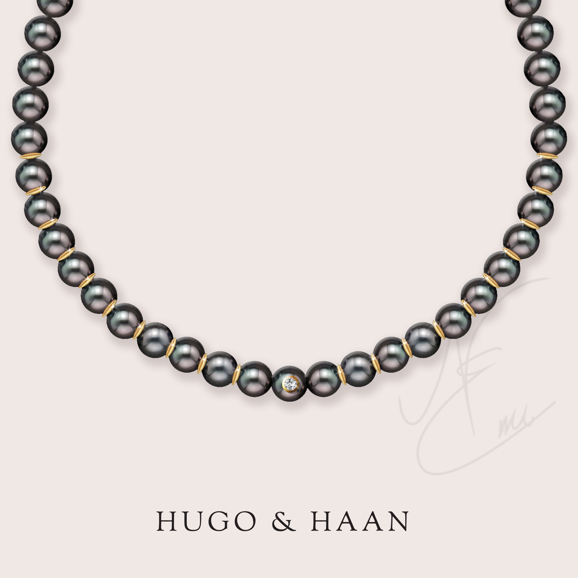 A necklace with a thought - One of our lovely clients approached us to help him design and create a beautiful Tahitian pearl necklace for his wife for a special occasion.