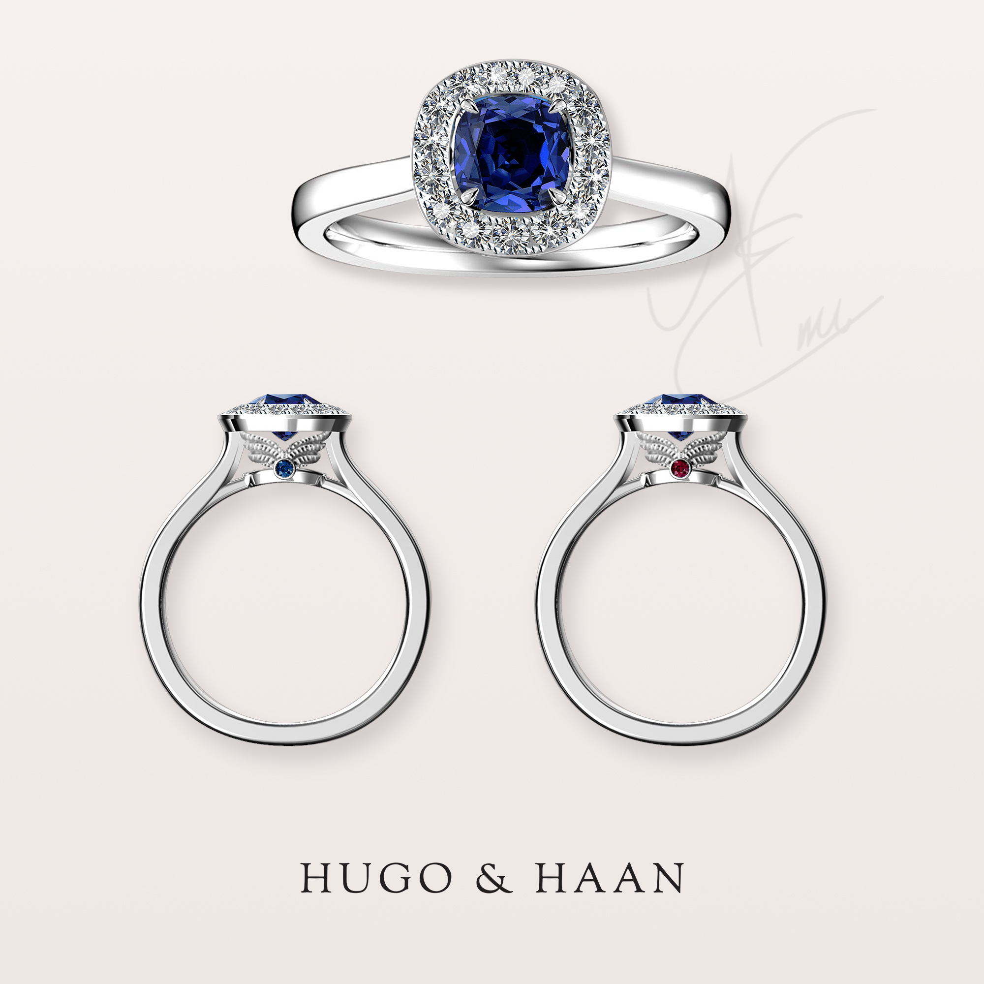 An engagement with colour and wings - Our client has approached us with an enquiry to create a sapphire ring that incorporates wings into the design that has special reference for the couple.