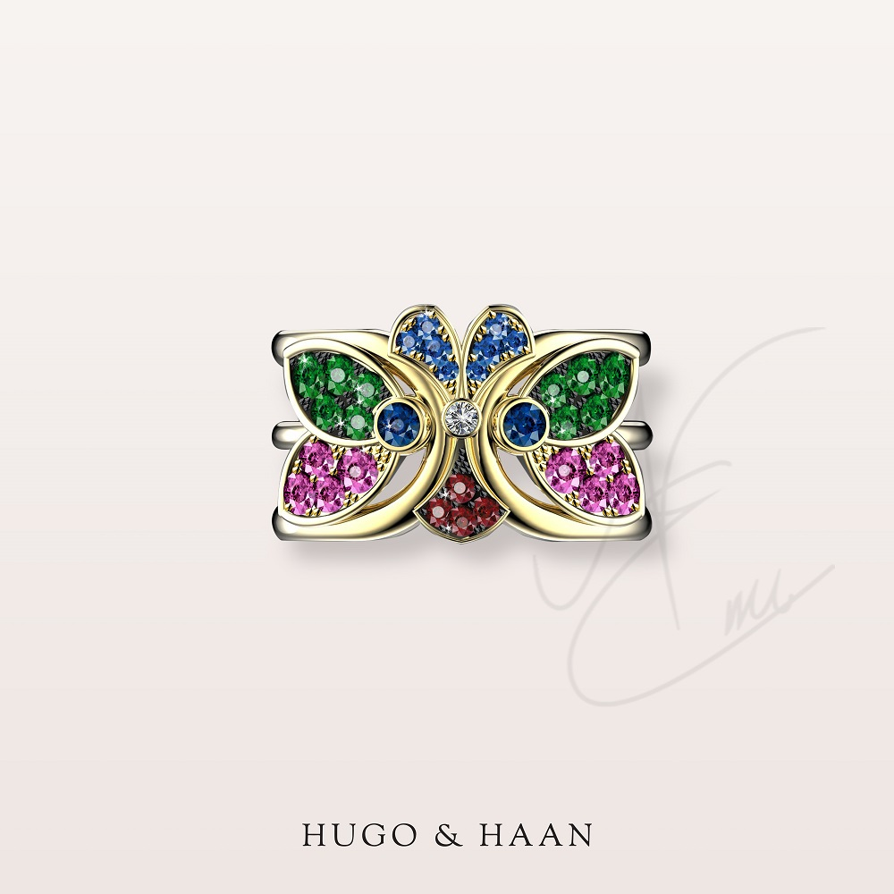 An everyday ring as delightful as its owner - Our client has approached us to create a ring for her birthday inspired by one of Emi's older watercolour paintings and transform it into a ring she can wear every day.