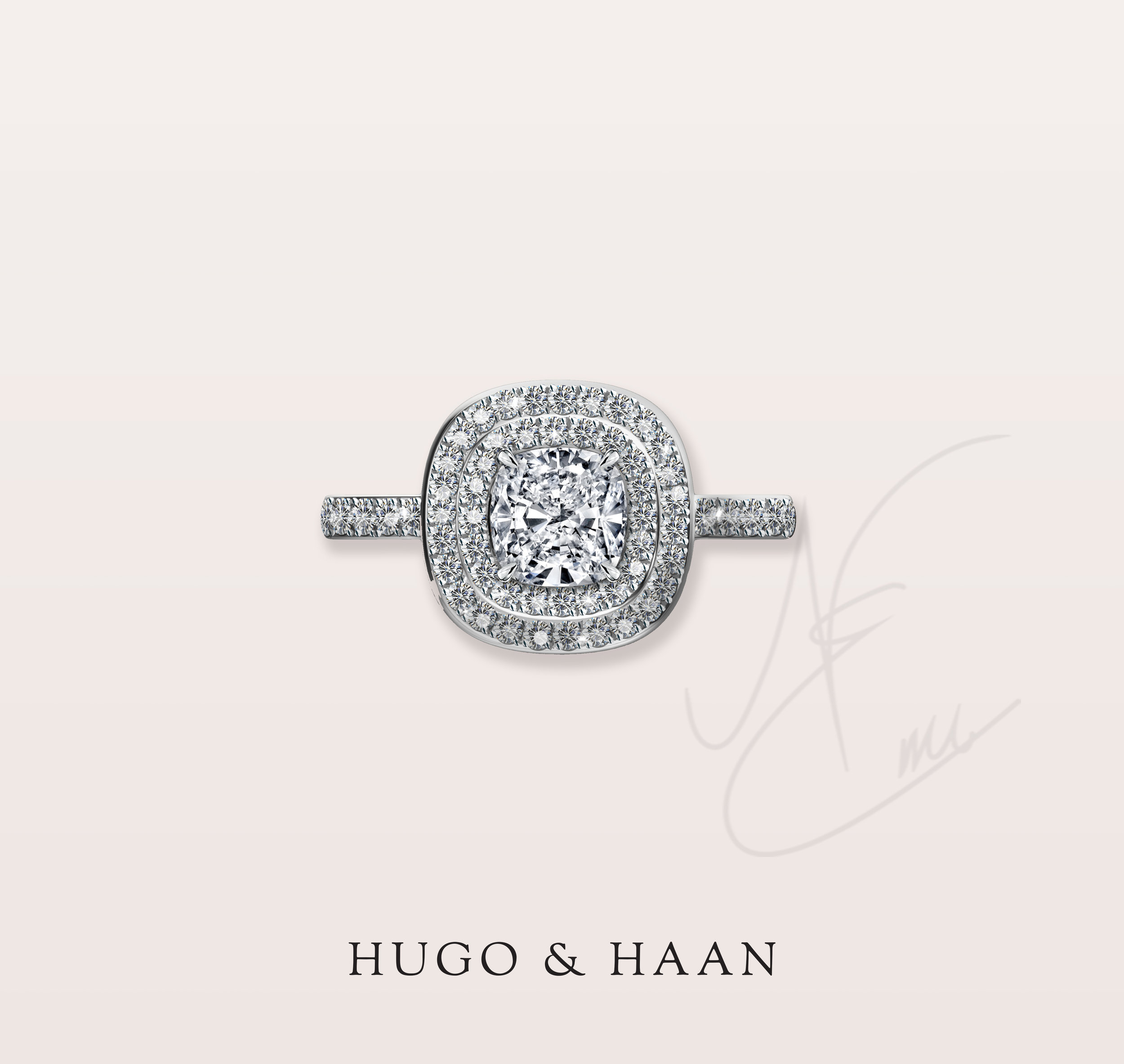 Twinkling diamond halo - Our customer has approached us with a specific design idea that he had in mind for this very special engagement ring. He wanted a cushion cut double halo design with diamonds on the side of the shank as well. A true show stopper engagement ring.