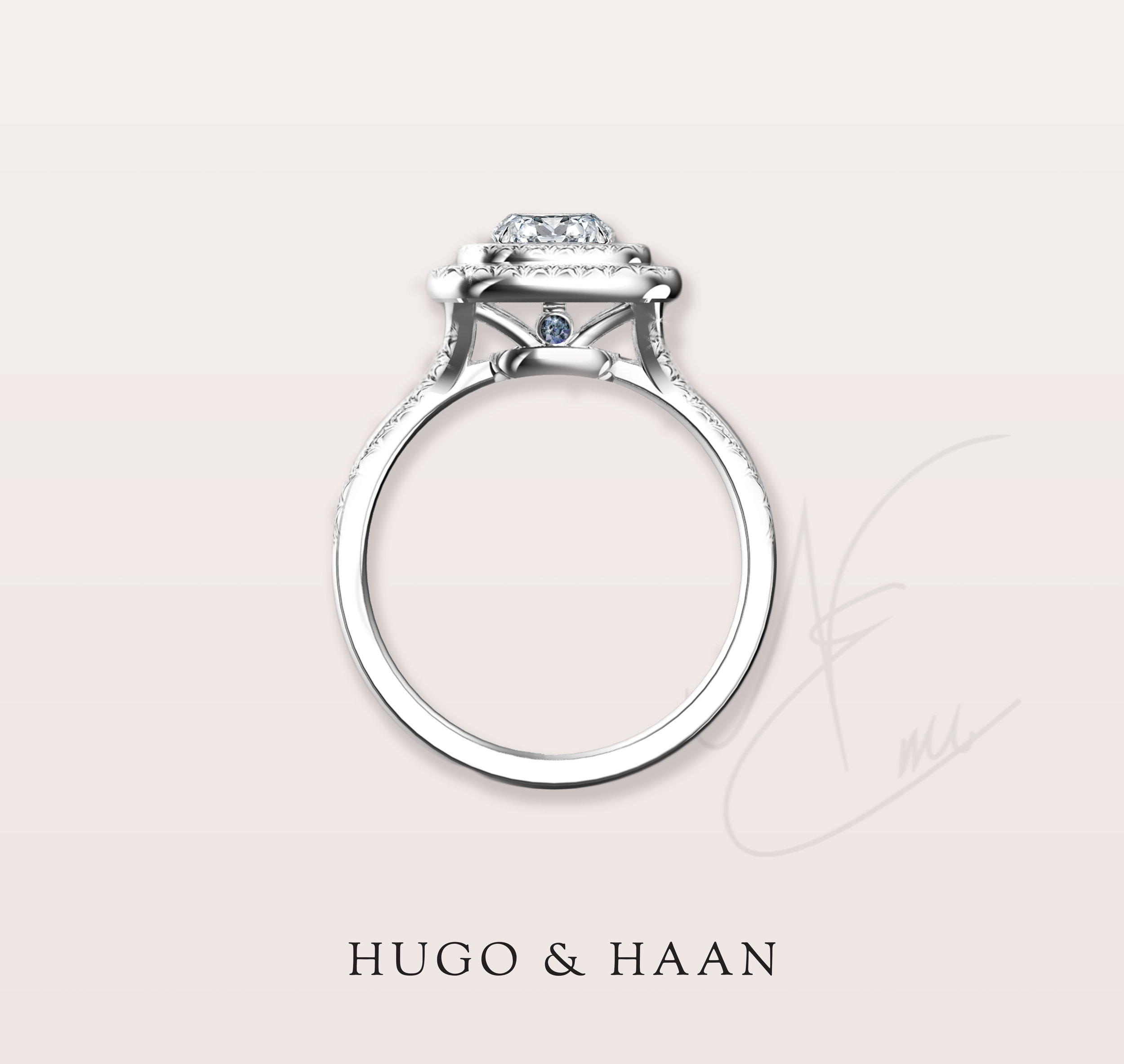 Finalising personal details - After choosing the central diamond together, we added a personalized detail under the setting. On both sides of the design we added the birthstone of the bride - aquamarine, for the month of March.