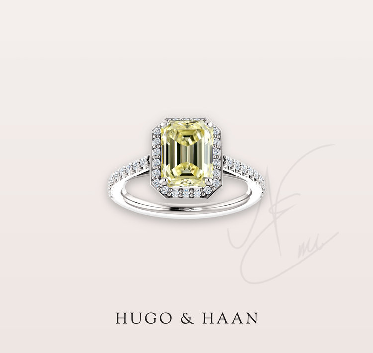 The Leonore Ring - Hugo & Haan Platinum GIA Certified Emerald Yellow Diamond Halo Engagement Ring