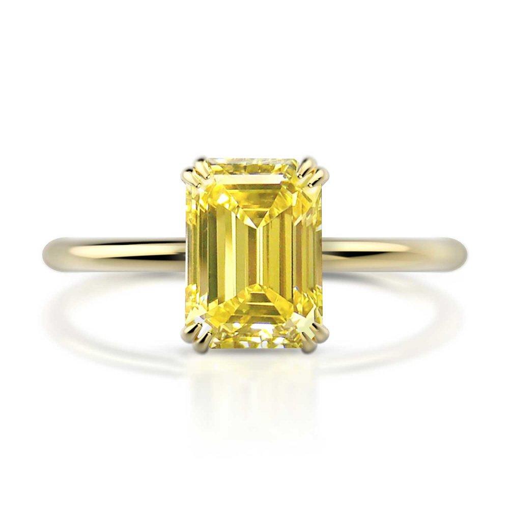 Emerald Yellow Diamond Solitaire Engagement Ring Hugo Haan