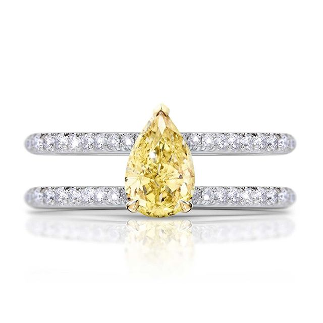 I really loved designing this parallel ring with this 0.86ct Pear Cut Yellow Diamond - it's different yet classic. And after the  proposal, you can add the the wedding band in the middle - creating the perfect ring stack.⠀⠀⠀⠀⠀⠀⠀⠀⠀ -⠀⠀⠀⠀⠀⠀⠀⠀⠀ Please note that all of our pieces are custom designed and custom made in London. If you are interested in pricing or designs, please feel free to send us an email to design@hugoandhaan.com. We are happy to help.⠀⠀⠀⠀⠀⠀⠀⠀⠀ - ⠀⠀⠀⠀⠀⠀⠀⠀⠀ #yellowdiamonds #yellowdiamondring #yellowdiamondengagementring #bespoke #jewellerydesigner #lovediamonds #engagementrings #uniqueengagementrings #madeinlondon @hugoadhaan