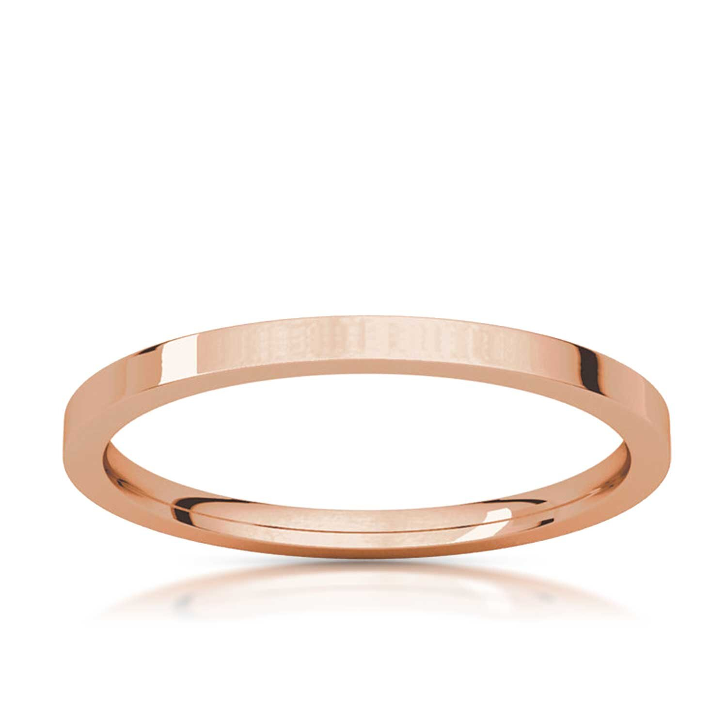 1 5mm Thin Flat Rose Gold Wedding Band And Stacking Ring Hugo Haan