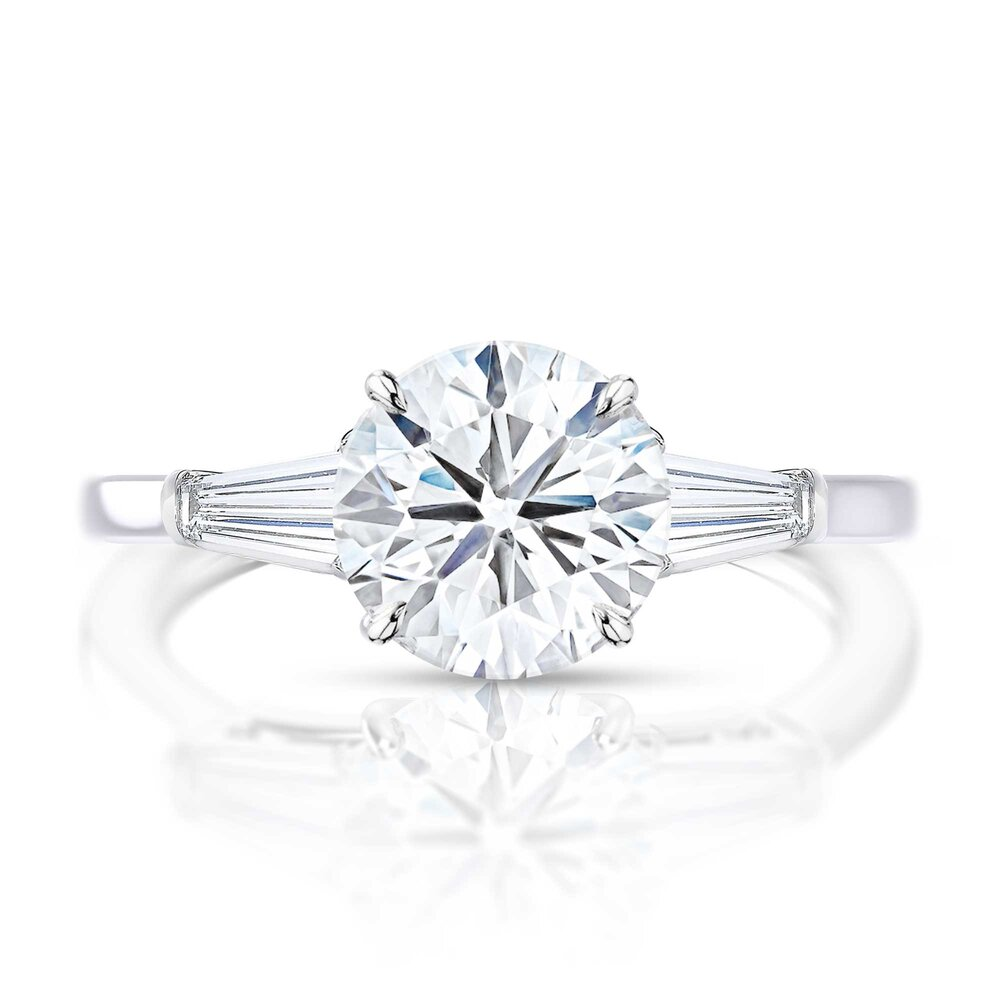Round Diamond Tapered Baguette Side Stone Engagement Ring Hugo Haan