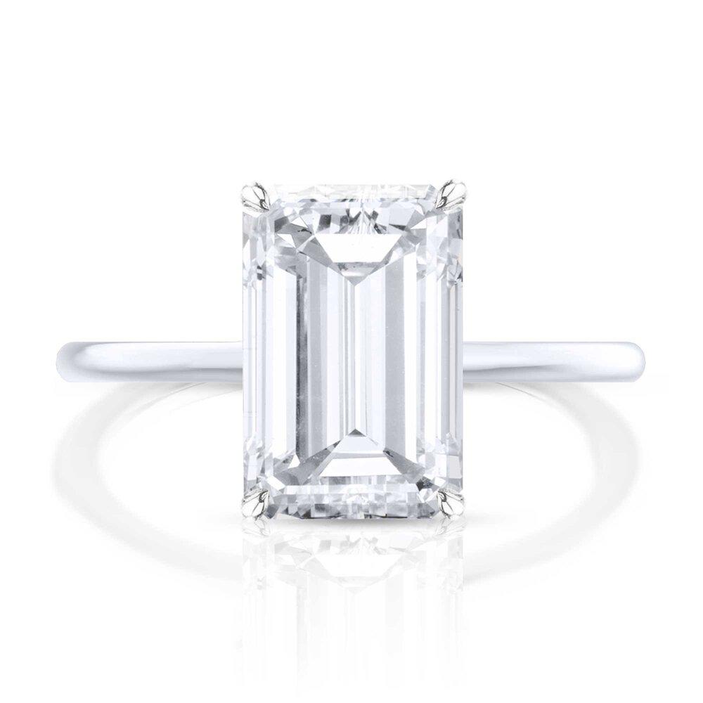 Thin Band Emerald Diamond Engagement Ring Hugo Haan