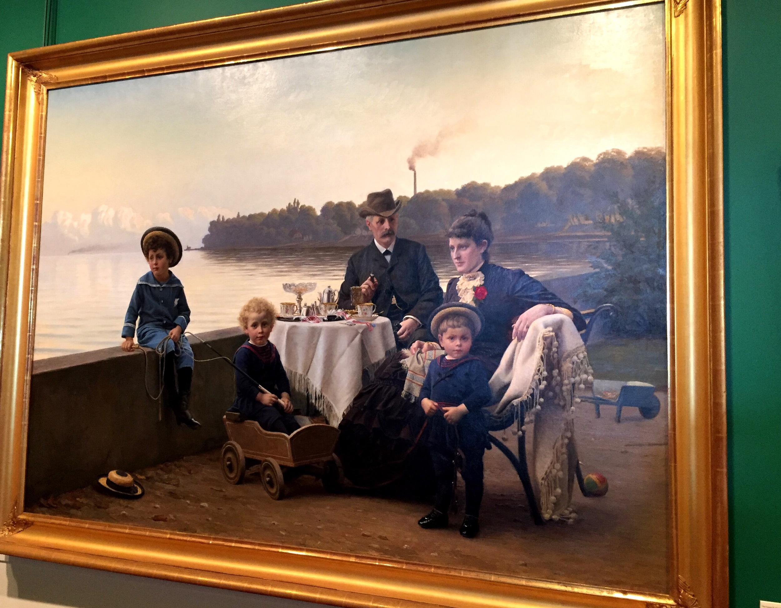 The George R. Rich Family Having Afternoon Coffee at the Villa Quisisana Overlooking Oresund, Skodsborg, Strandvej  (Denmark), 1885 by Wenzel Ulrik Tornoe, Danish, 1844-1907