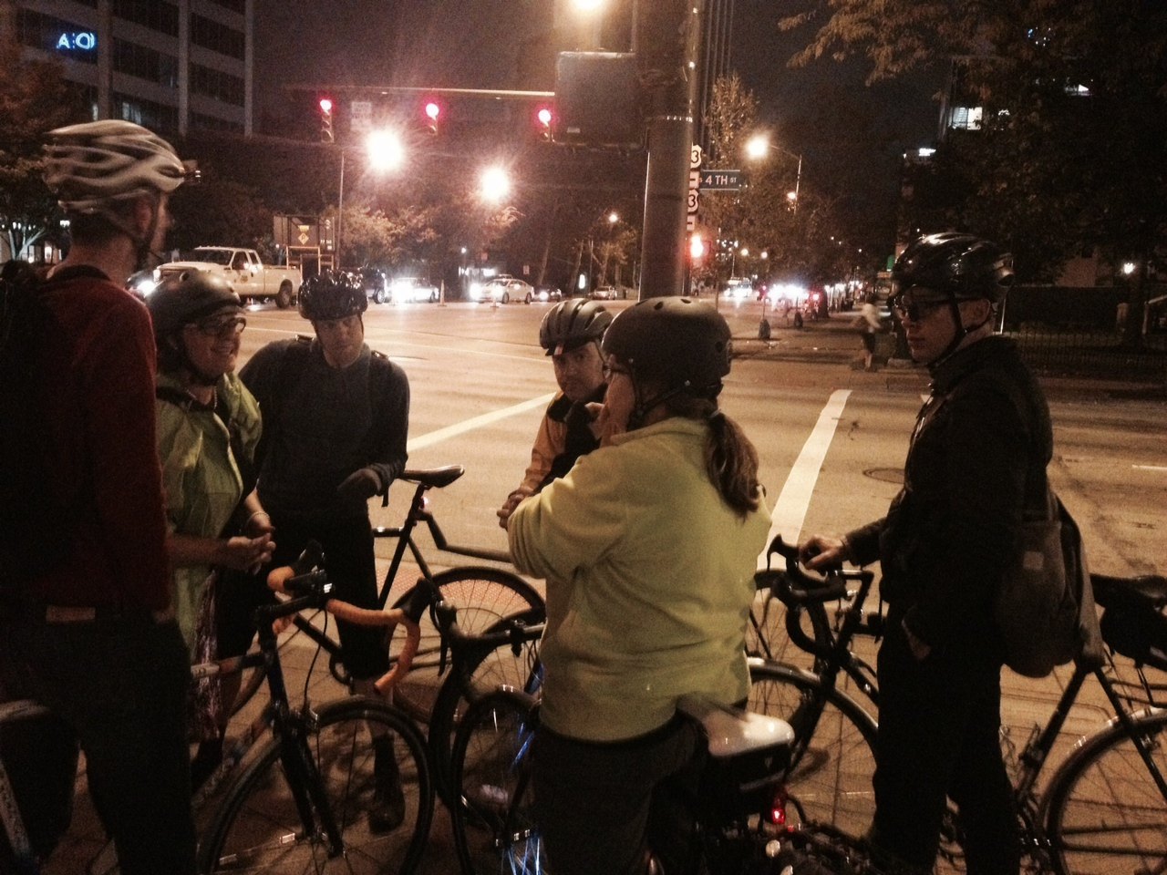 Yay Bikes! members reviewing the proposed bicycle accommodations on 4th Street Downtown. Photo credit: MJ Reed