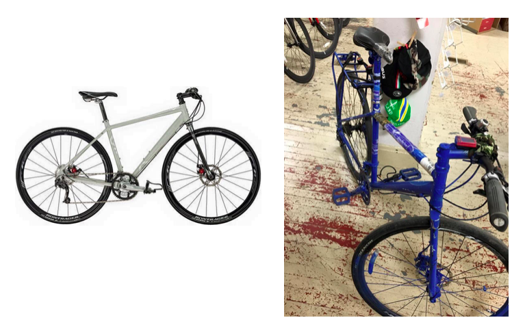 On left: bike before theft. On right: bike after theft.