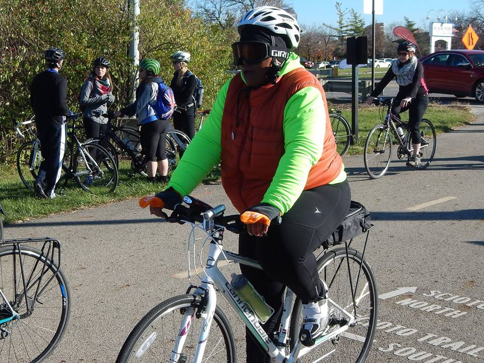 Shirley Droney, all geared up for a chilly Year of Yay! ride.