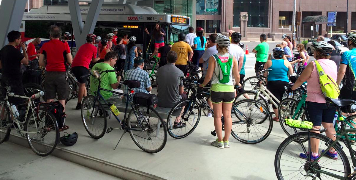 Practicing using the bike and bus racks on the May 2015 Year of Yay ride.
