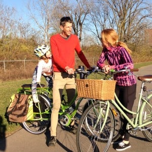 Will with his wife, Diana, and daughter, Avril, explore Columbus by bike whenever weather permits.
