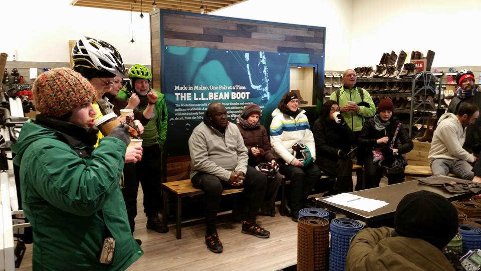 Our group takes in a presentation on base layers at L.L.Bean. Photo credit: Catherine Girves
