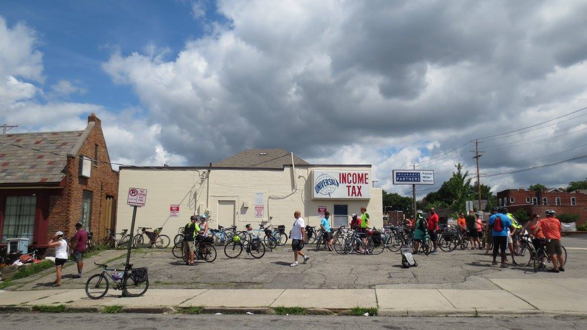 Cyclists gather at our first stop, Clintonville-Beechwold CRC. Photo credit: Darrell McGrath