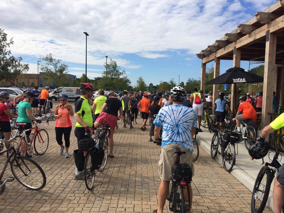 Gathering pre-ride at Whole Foods Market Easton. Photo credit: Shyra Allen