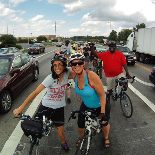 Entertaining ourselves with bike helmet bunny ears while waiting to turn onto Morse Road and then into the Whole Foods parking lot at Easton. Photo credit: Darrell McGrath