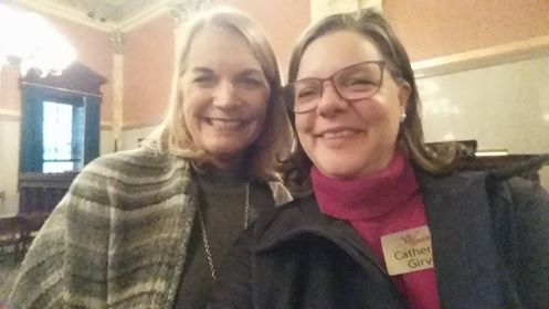 Our Executive Director, Catherine (right), with Kimber Perfect of Mayor Ginther's office at the hearing for HB 154, Ohio's 3' safe passing law.