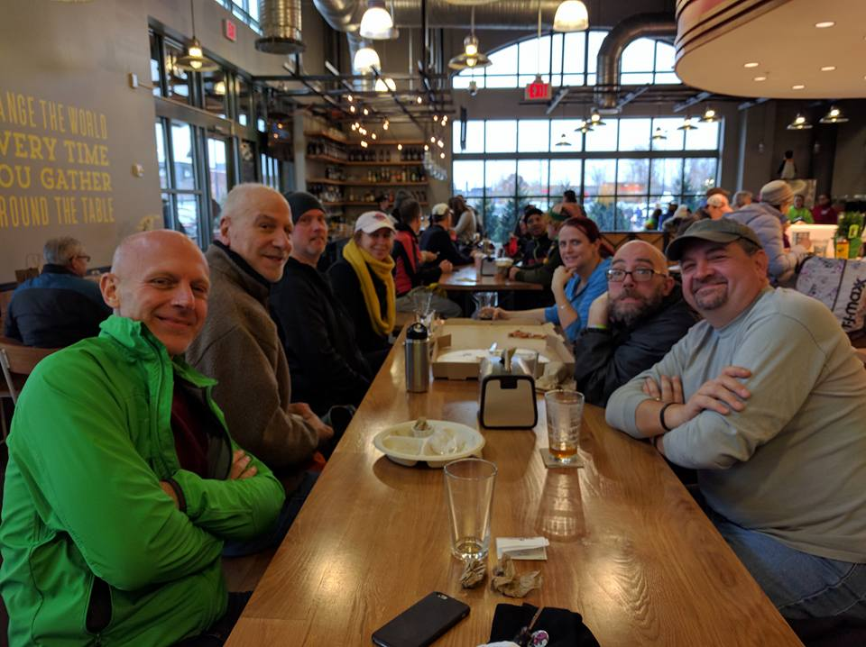 As usual, the crew enjoyed food & beverage aplenty at Whole Foods Market after the ride. Photo credit: Michelle Blaney