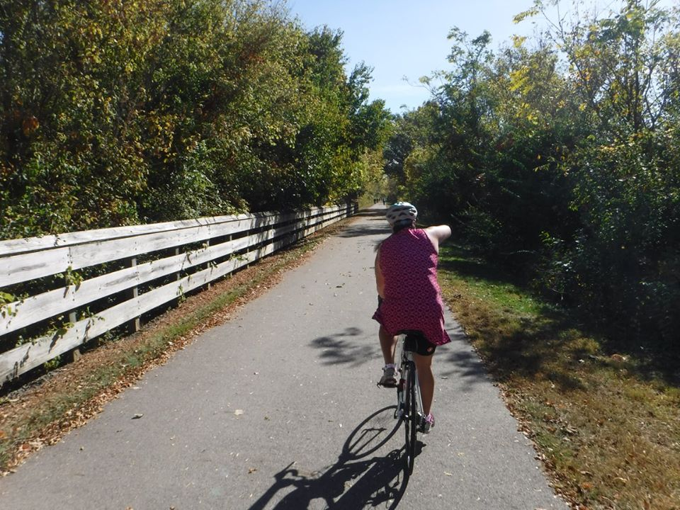 Gloria on her 100-mile ride, to commemorate the 1-year anniversary of Rob's crash.