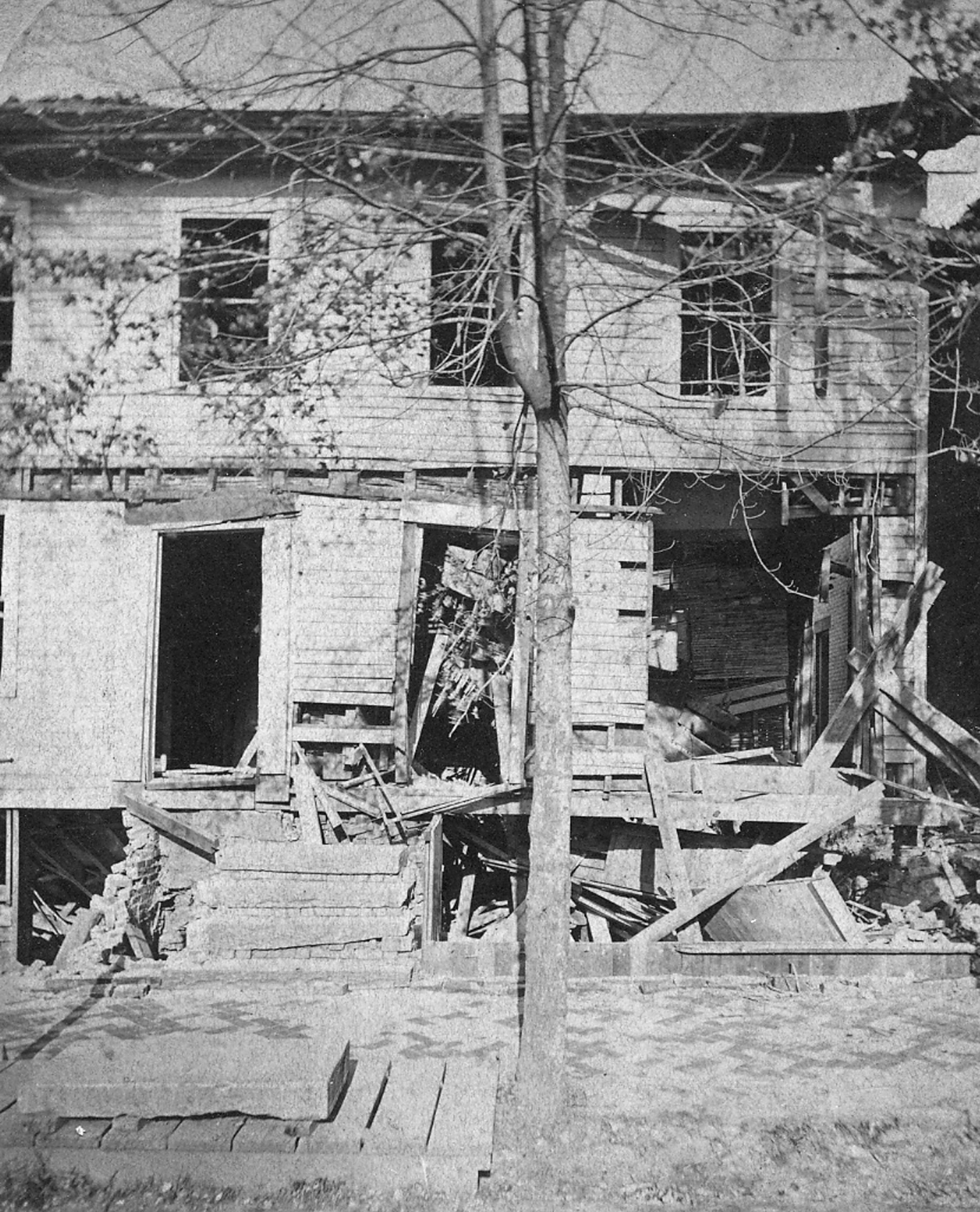 Corbin's Tavern, upon being bombed by Temperance supporters.