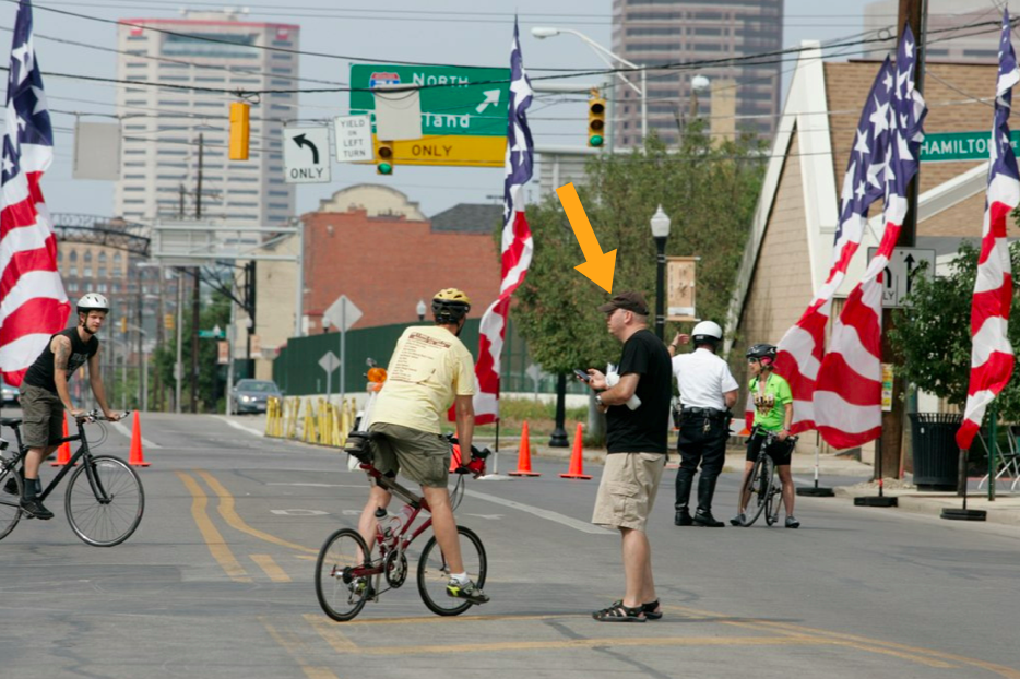 A rare photo of Ray heading up the first-ever Bike the Cbus in 2008.