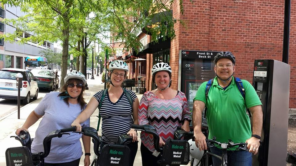 Riding with his colleagues to lunch on a Yay Bikes! Ride Buddy ride.