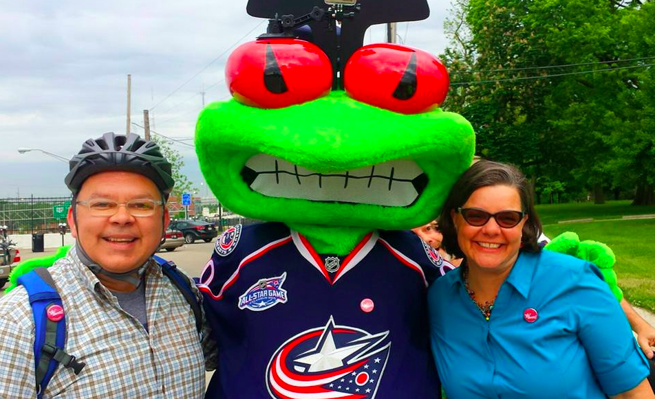 Best buds Duane, Stinger and Catherine (Girves) at a Bike to Work Day event. Photo credit: Bryan Barr