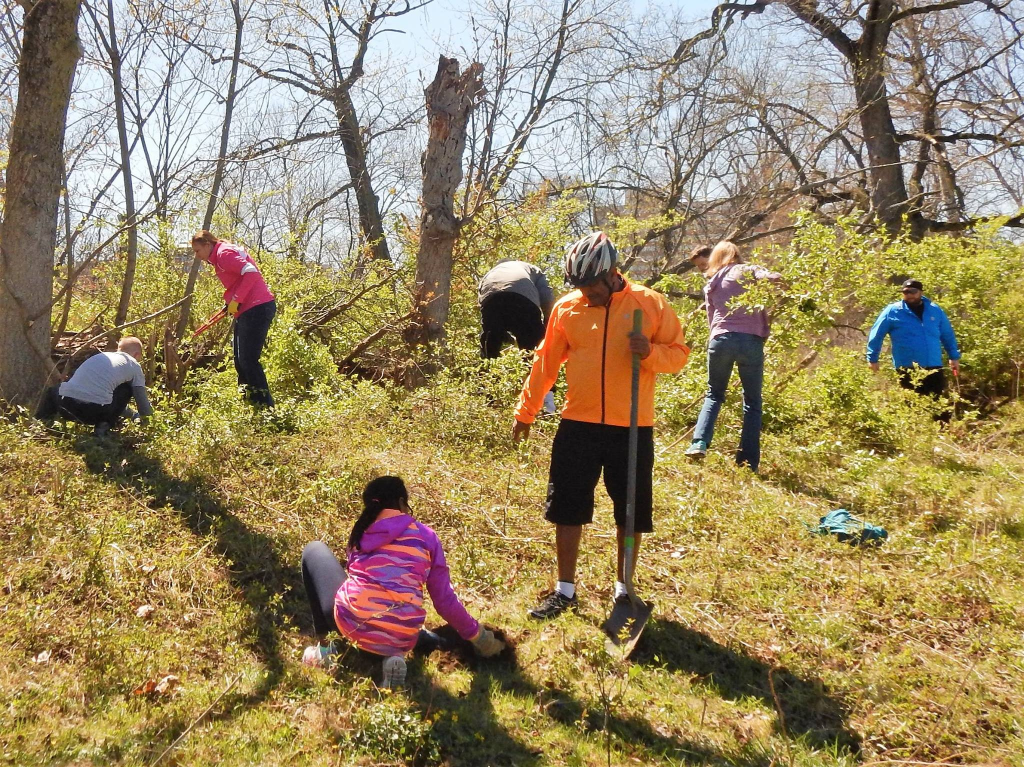 The crew clears invasive plants. Photo credit: Keith 'Lugs' Mayton