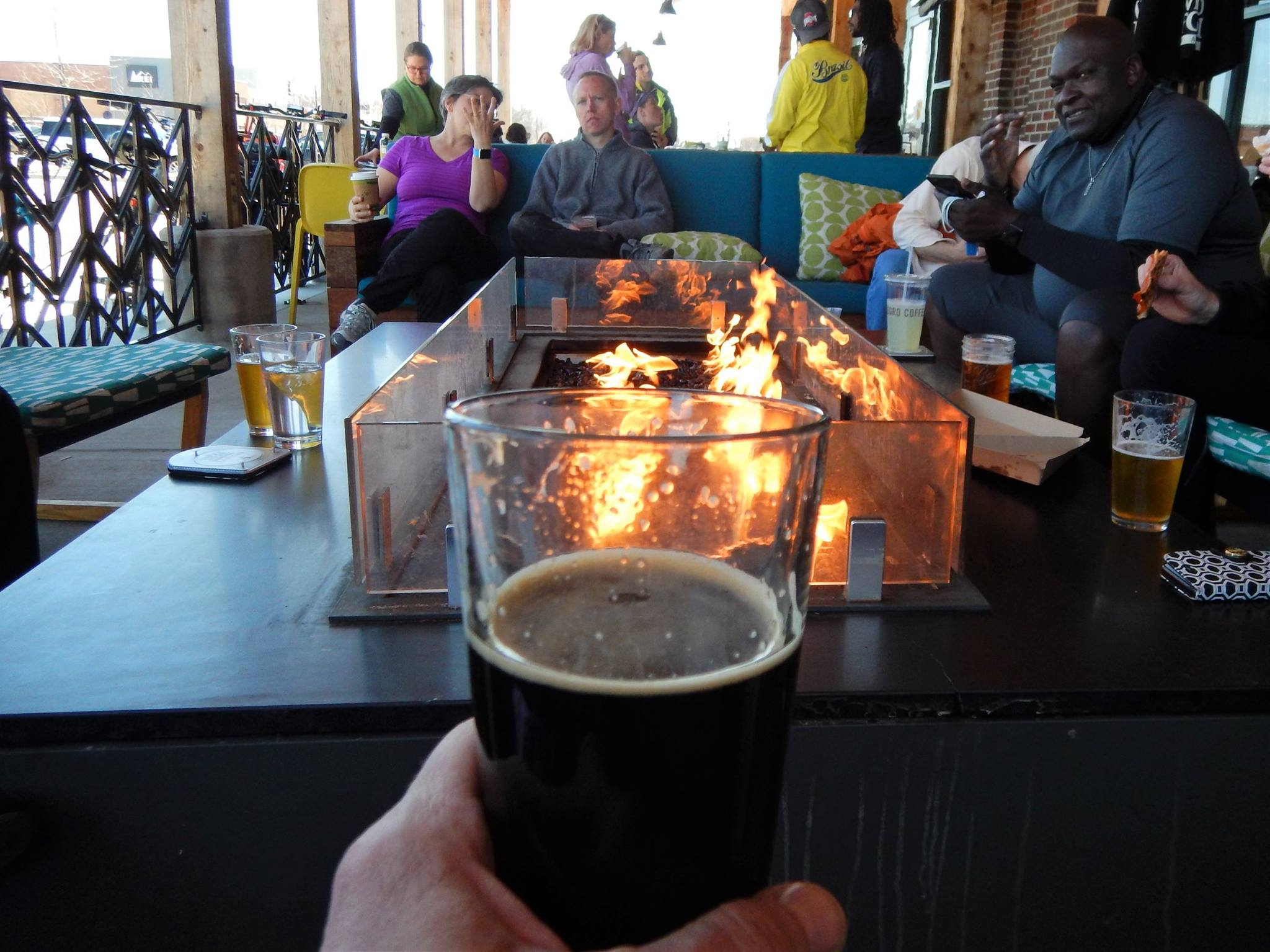 Mmmm...post-ride beverage, fire, friends! Photo credit: Keith 'Lugs' Mayton