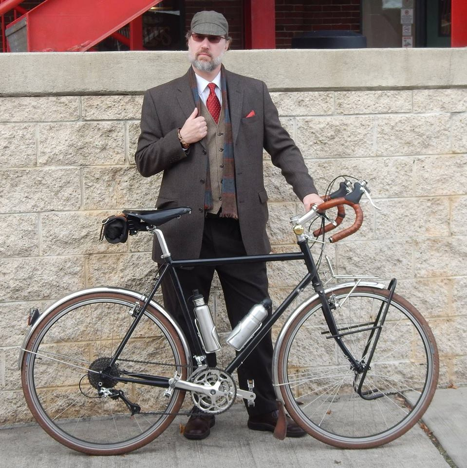 Switching it up for a more debonair styling on a recent Tweed Ride.