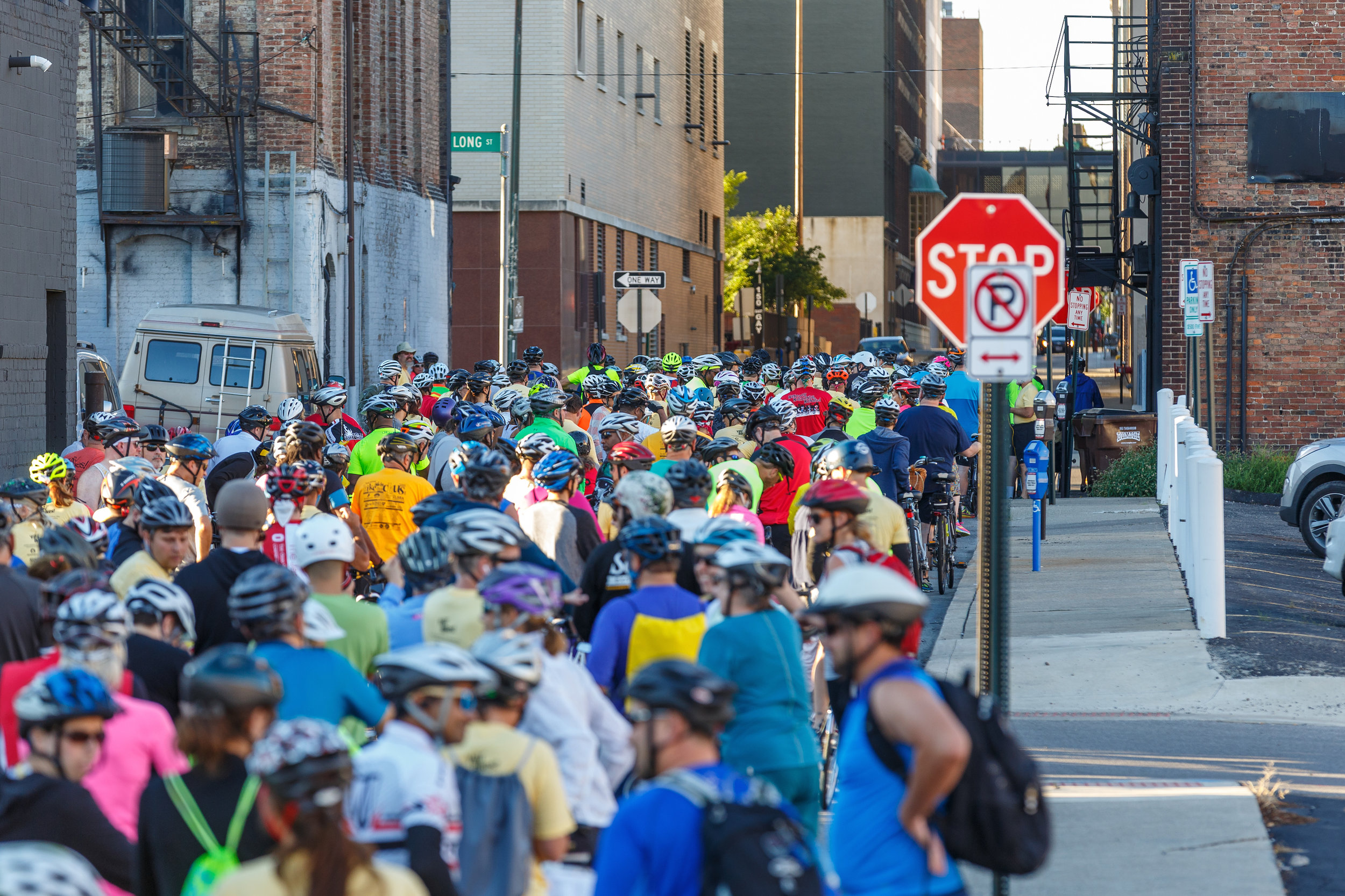 Hundreds of people embark on 2016's Bike the Cbus ride. Photo credit: Ben Ko