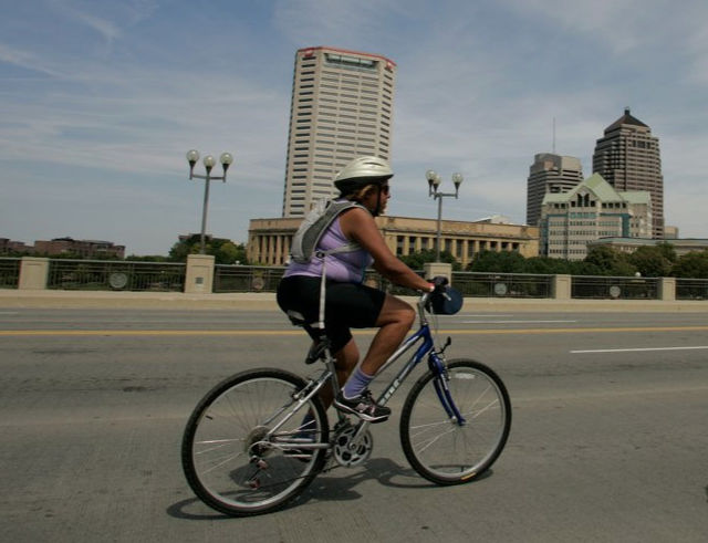 Bertie, rocking a mountain bike on the first-ever Bike the Cbus in 2008.