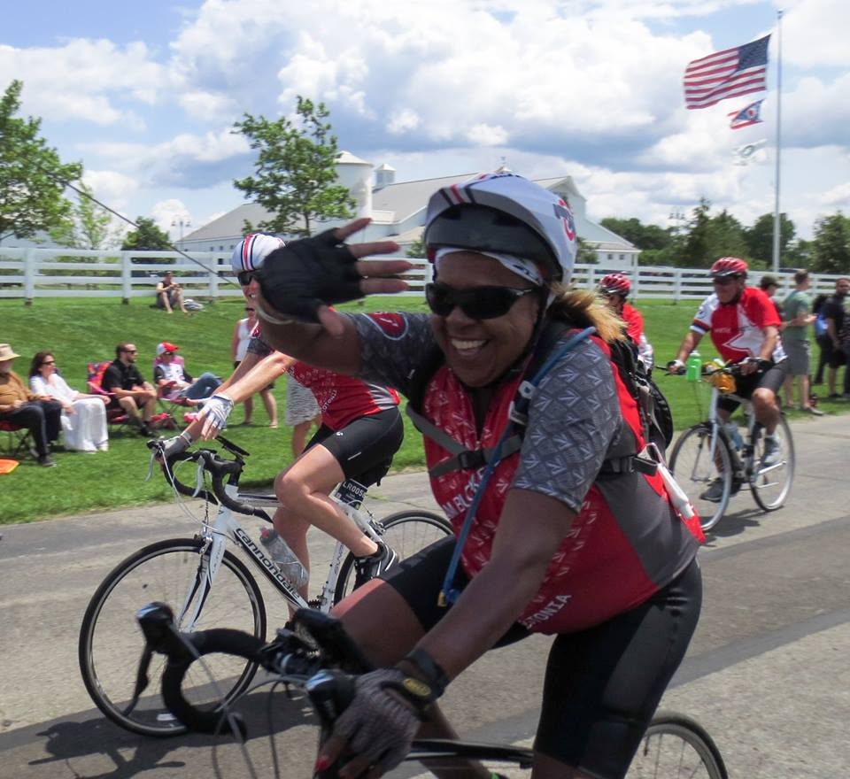 Happiness on a bike, riding with Team Buckeye during Pelotonia 2017.Photo credit: Darrell McGrath