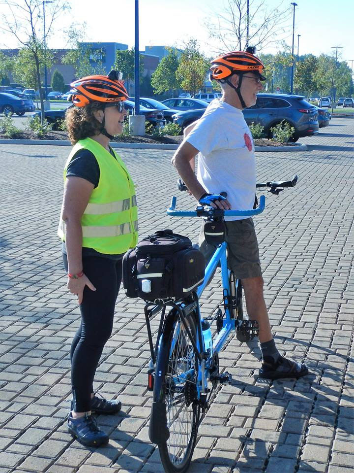 Ride leader Aliceanne Inskeep introduces the ride with her sweetie, Ken Cohen. Photo credit: Keith Mayton