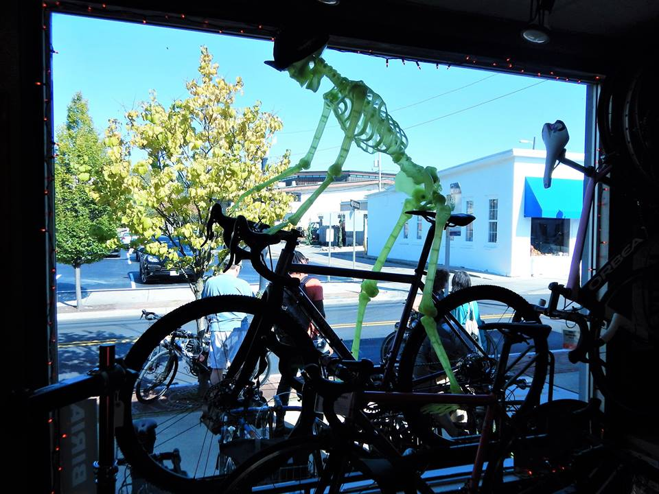 Spooky cyclist @ Westerville Bike Shop. Photo credit: Keith Mayton