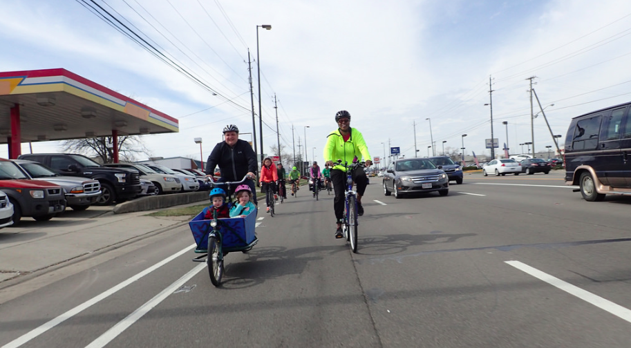 A Year of Yay! ride with kiddos on Morse Rd. Photo: Ray George
