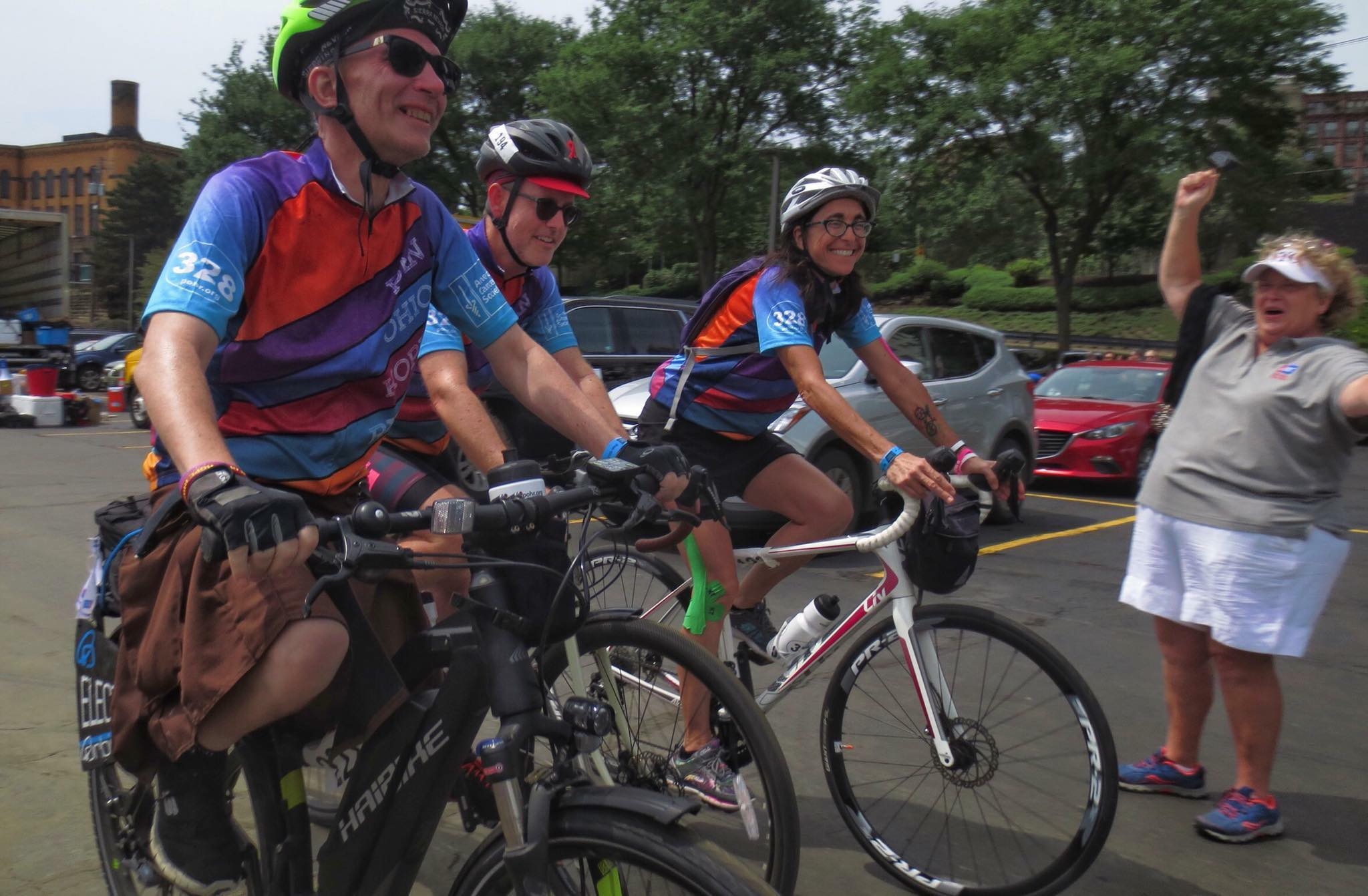 Nik, Joel and Kathleen being cheered on during the 2018 Pan-Ohio Hope Ride. Photo: Darrell McGrath