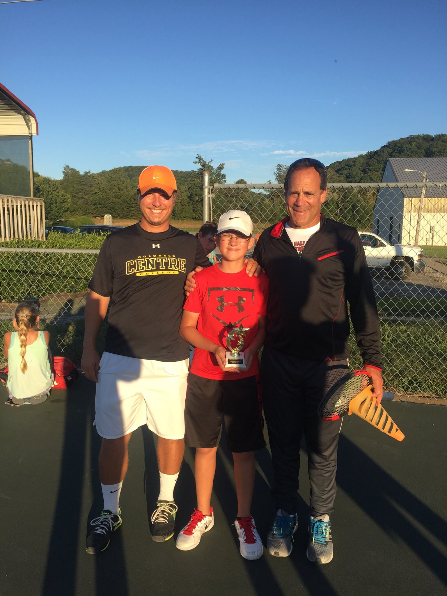 Coaches, Xan Witherington and Rob Cameron, with one of TTCA's super star's, James Lea-Miranda.