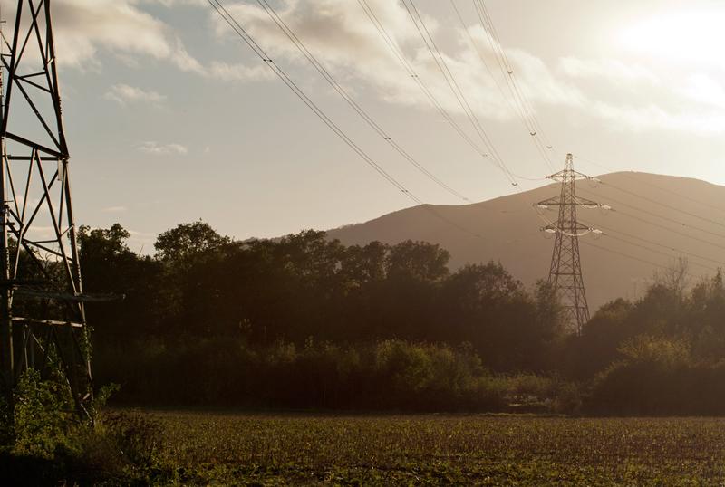 Pylons at Sunset, Worcs.