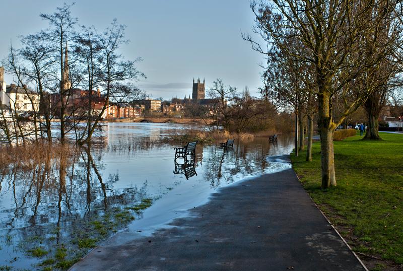 River Severn in flood, Worcester