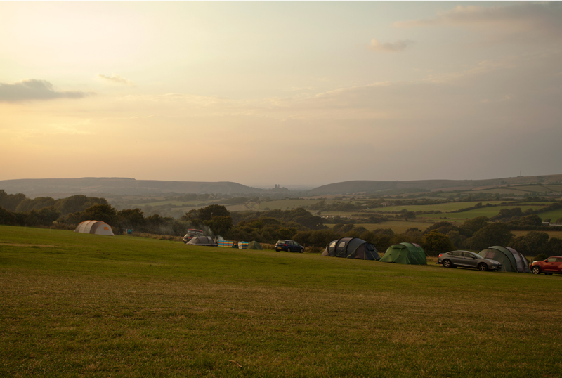 Campsite with a view of Corfe Castle, Dorset