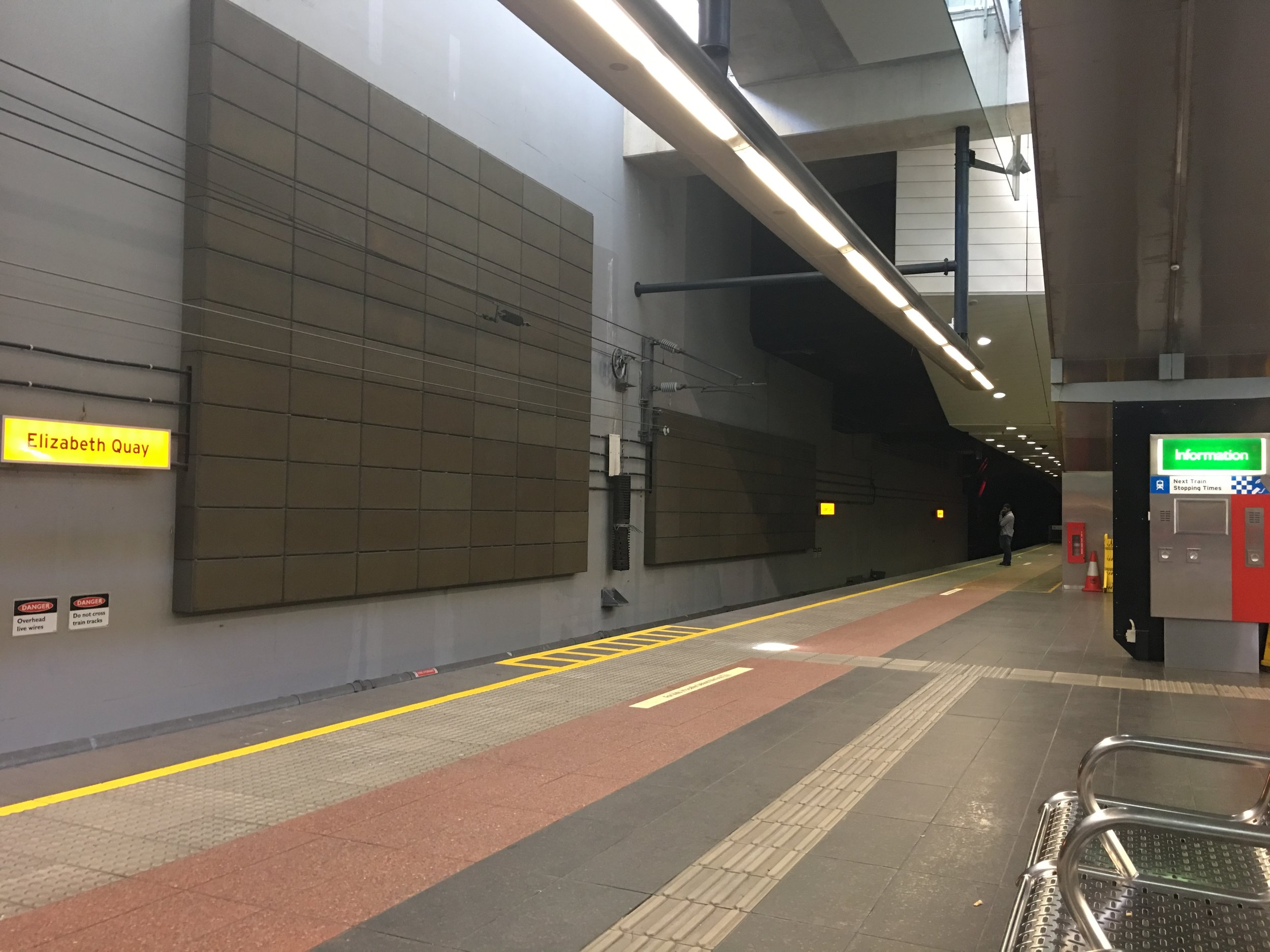 Waiting for our train at Perth station