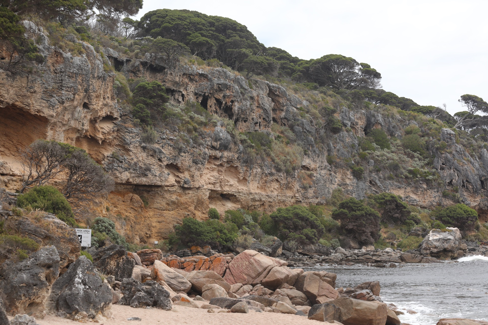 Rocky cliffs at Shelley Cove
