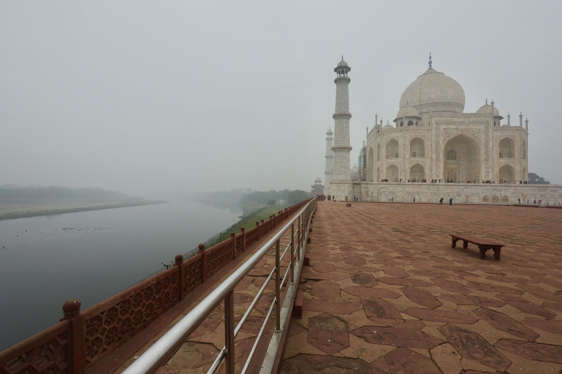 The Taj Mahal stands on the South bank of the Yamuna River in the city of Agra.